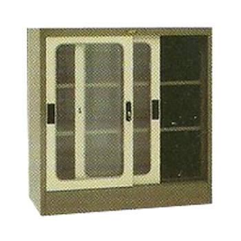 lemari arsip 2 pintu sliding kaca ½ tinggi elite el-432