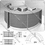 Meja Resepsionis Bulat Modera Reception Desk & Podium MRB-1112 2 Moduls
