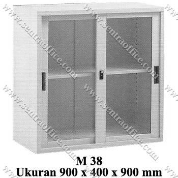 lemari arsip pendek pintu sliding kaca modera type m 38