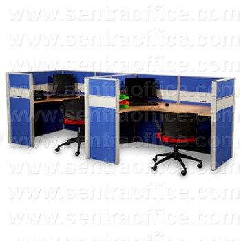 partisi kantor modera 6 series konfigurasi 2 orang (warna biru)