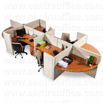 partisi kantor modera 6 series konfigurasi 4 orang (warna cream)