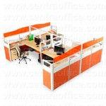 Partisi Kantor Modera 6 Series Konfigurasi 4 Orang (Warna Orange)