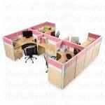 Partisi Kantor Modera 6 Series Konfigurasi 4 Orang (Warna Pink)