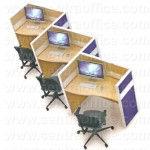 Partisi Kantor Modera 6 Series Konfigurasi 3 Orang (Warna Biru)